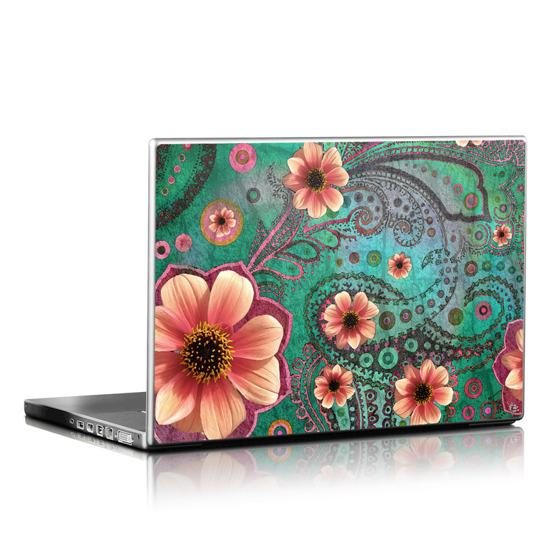 Laptop Skin design of Pink, Flower, Green, Petal, Floral design, Pattern, Plant, Wildflower, Botany, Gazania with black, red, blue, gray, green, pink colors