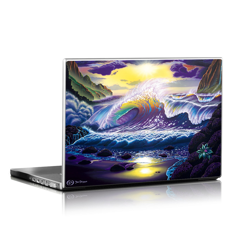 Laptop Skin design of Nature, Sky, Water, Wave, Purple, Cg artwork, Wind wave, Geological phenomenon, Mythology, Art with black, gray, blue, pink, green colors