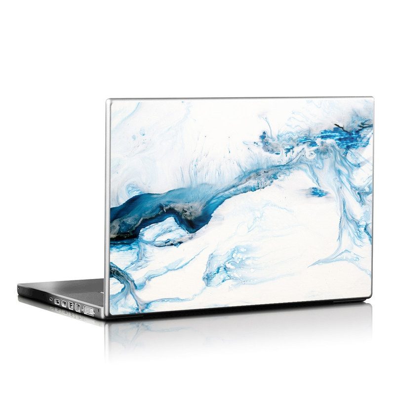 Laptop Skin design of Glacial landform, Blue, Water, Glacier, Sky, Arctic, Ice cap, Watercolor paint, Drawing, Art with white, blue, black colors