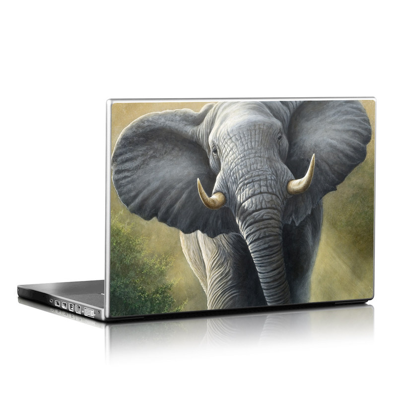 Laptop Skin design of Terrestrial animal, Elephants and Mammoths, Vertebrate, Wildlife, Mammal, African elephant, Indian elephant, Grassland, Working animal, Tusk with gray, white, green, brown, yellow, orange colors