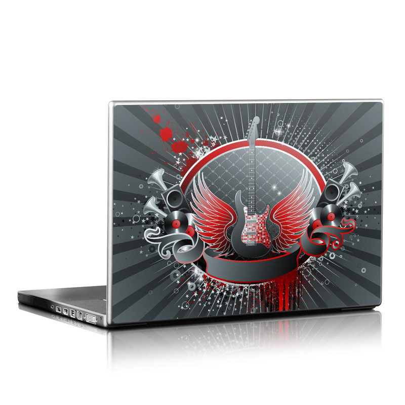 Laptop Skin design of Graphic design, Illustration, Graphics, Font, Art, Logo, Games, Circle with black, gray, red, blue colors