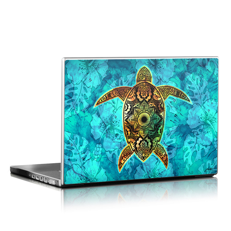 Laptop Skin design of Sea turtle, Green sea turtle, Turtle, Hawksbill sea turtle, Tortoise, Reptile, Loggerhead sea turtle, Illustration, Art, Pattern with blue, black, green, gray, red colors