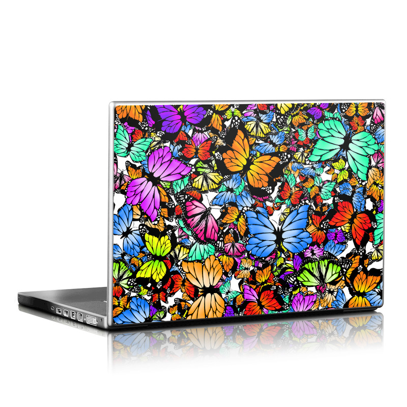 Laptop Skin design of Butterfly, Monarch butterfly, Moths and butterflies, Psychedelic art, Insect, Cynthia (subgenus), Pattern, Stained glass, Design, Pollinator with black, red, gray, green, blue colors