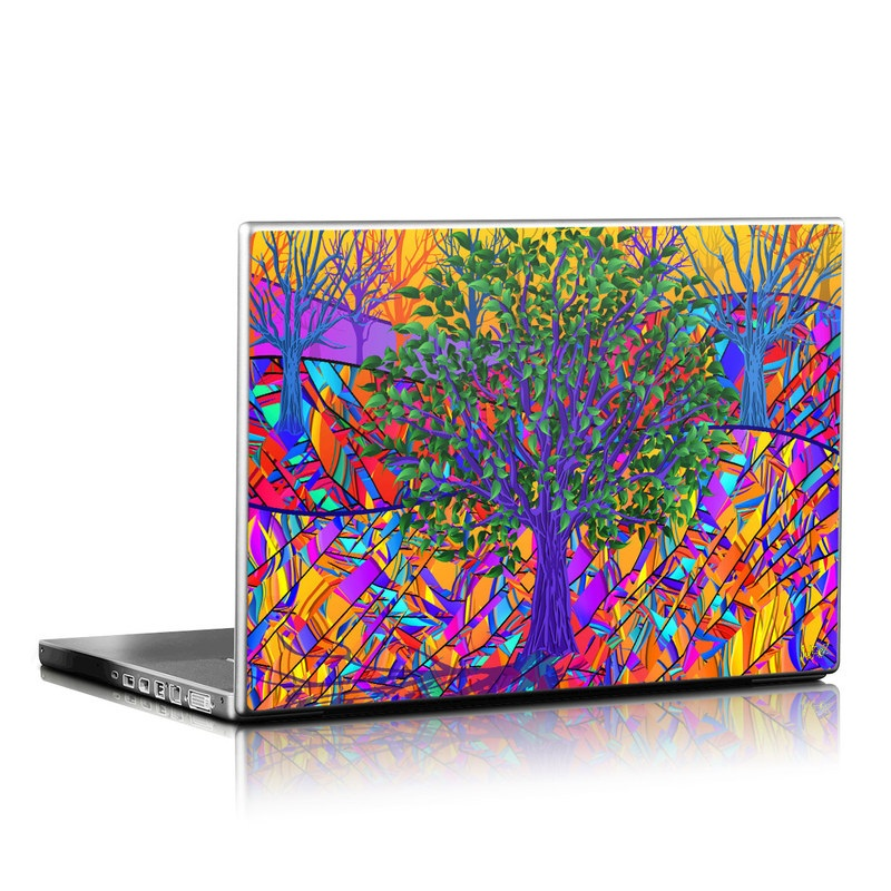 Laptop Skin design of Psychedelic art, Pattern, Visual arts, Art, Plant, Acrylic paint, Modern art with green, purple, orange, blue, purple, yellow, red colors