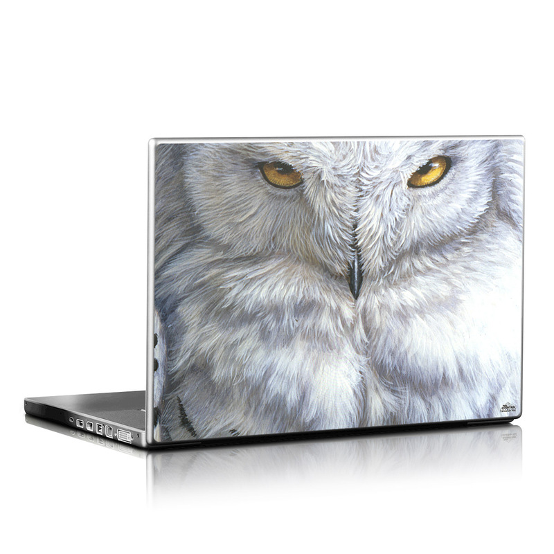 Laptop Skin design of Owl, Bird, Bird of prey, Snowy owl, great grey owl, Close-up, Eye, Snout, Wildlife, Eastern Screech owl with gray, white, black, blue, purple colors