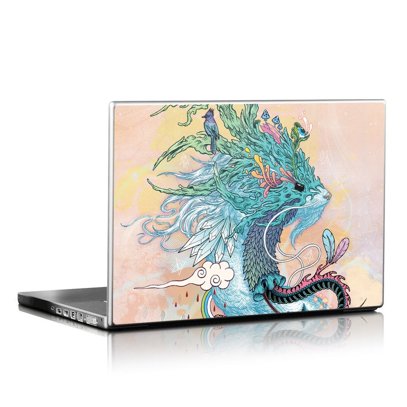 Laptop Skin design of Illustration, Water, Watercolor paint, Art, Fictional character, Graphic design, Mythology, Visual arts, Painting, Drawing with yellow, pink, blue, green colors