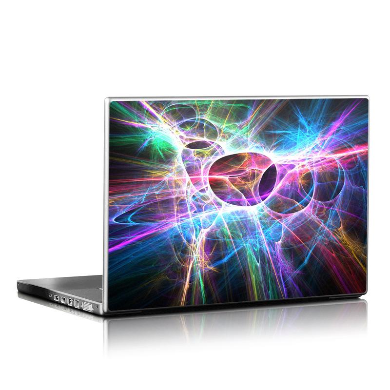 Laptop Skin design of Fractal art, Light, Pattern, Purple, Graphic design, Design, Colorfulness, Electric blue, Art, Neon with black, gray, blue, purple colors