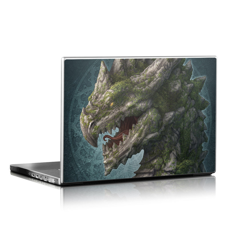 Laptop Skin design of Dragon, Fictional character, Cg artwork, Illustration, Mythical creature, Terrain with gray, green, blue, yellow, red colors