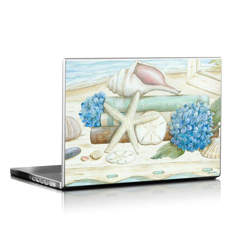 Laptop Skin design of Starfish, Shell, Hydrangea, Plant, Flower, Still life, Echinoderm, Cornales with gray, green, blue, yellow colors