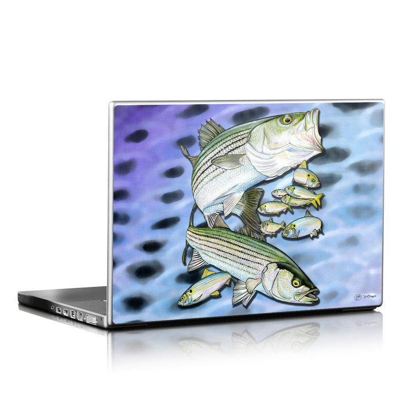 Laptop Skin design of Fish, Bass, Bony-fish, Ray-finned fish, Northern largemouth bass, Trout with gray, black, blue, purple, green colors
