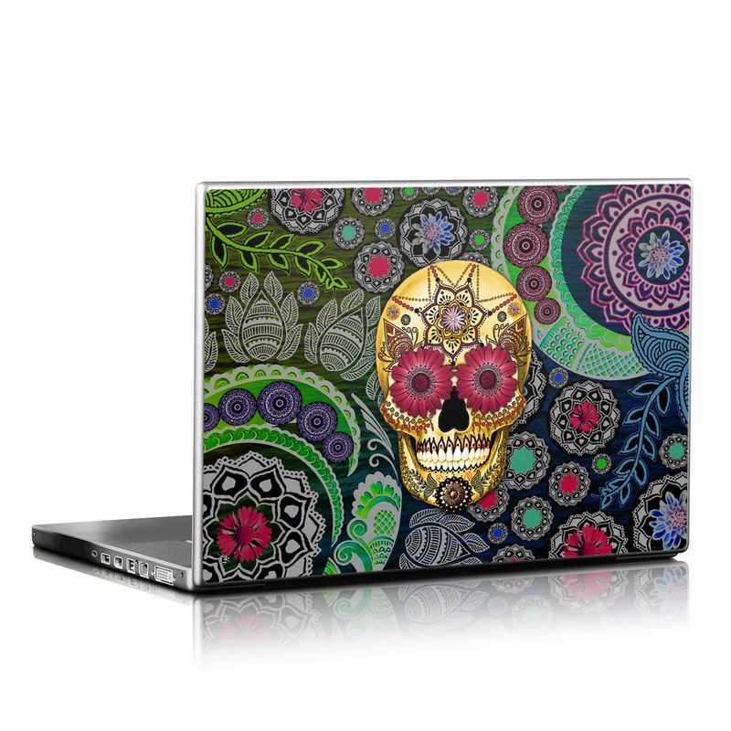 Laptop Skin design of Skull, Bone, Pattern, Psychedelic art, Visual arts, Design, Illustration, Art, Textile, Plant with black, red, gray, green, blue colors