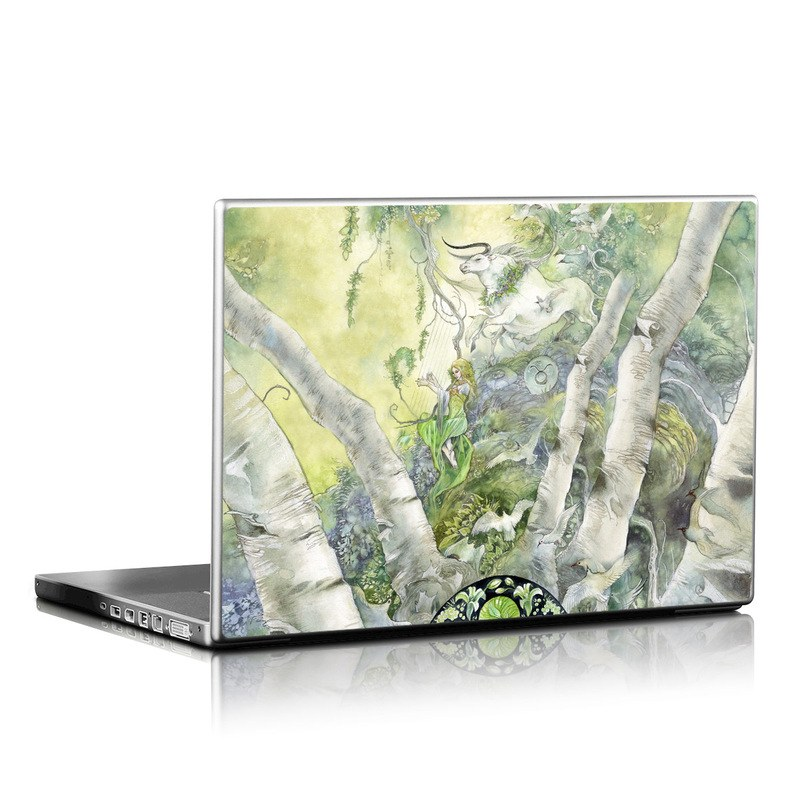 Laptop Skin design of Watercolor paint, Tree, Illustration, Plant, Art, Painting, Paint with gray, green, black, yellow colors