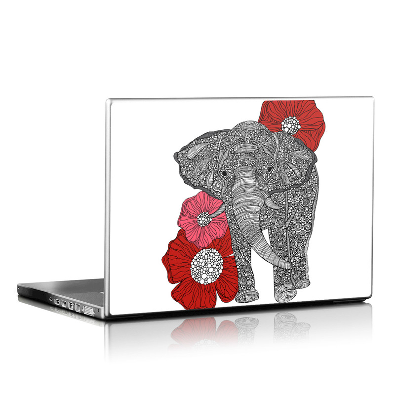 Laptop Skin design of Indian elephant, Elephants and Mammoths, African elephant, Line art, Illustration with gray, black, white, red colors