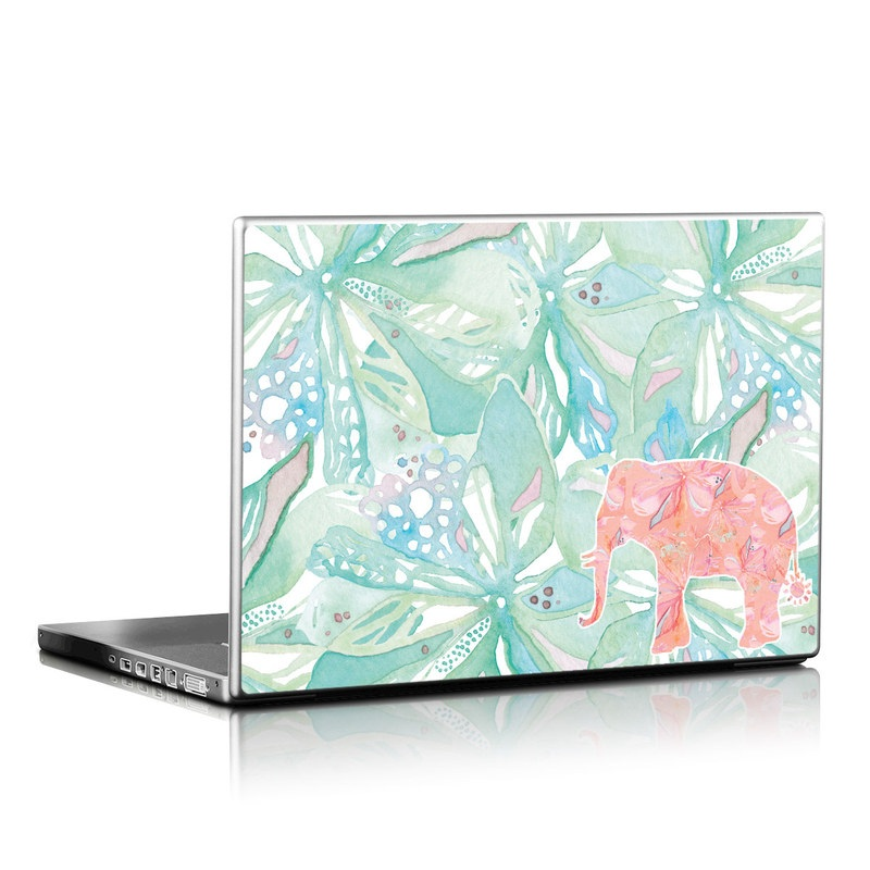 Laptop Skin design of Aqua, Turquoise, Pattern, Wrapping paper, Design, Illustration, Plant, Gift wrapping, Art with blue, pink, white, green colors