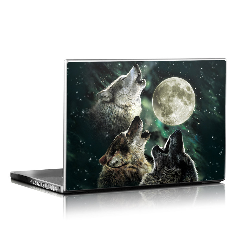Laptop Skin design of Wolf, Light, Astronomical object, Moon, Wildlife, Organism, Moonlight, Sky, Atmosphere, Celestial event with black, gray, green colors
