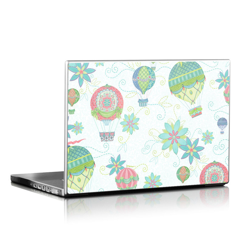 Laptop Skin design of Pattern, Design, Clip art, Plant, Wrapping paper, Pedicel with white, gray, blue, green, pink colors
