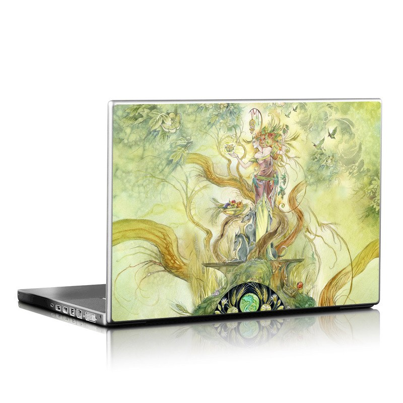 Laptop Skin design of Art, Illustration, Mythology, Painting, Fictional character, Watercolor paint, Visual arts, Cg artwork, Graphic design, Style with green, yellow, orange, gray, red colors
