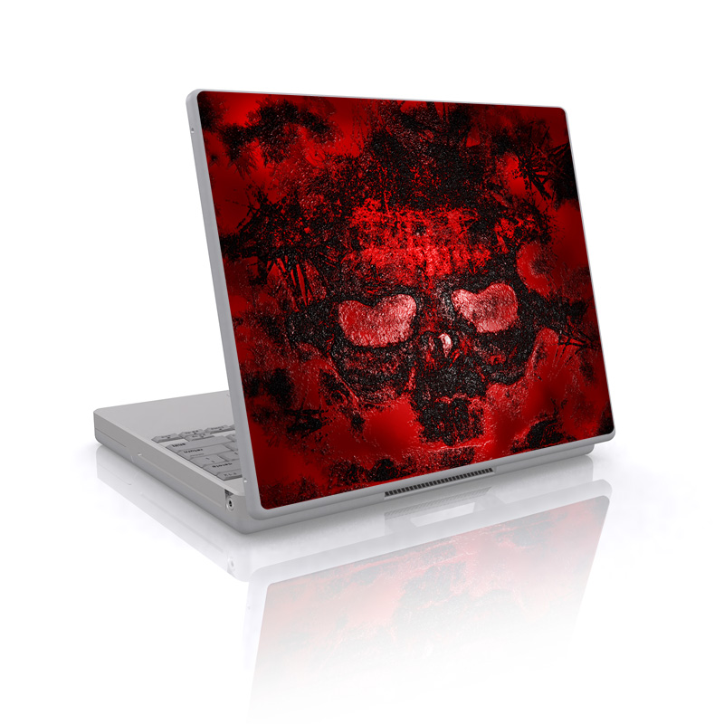 Laptop Skin design of Red, Heart, Graphics, Pattern, Skull, Graphic design, Flesh, Visual arts, Art, Illustration with black, red colors