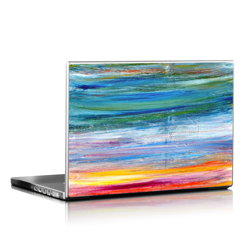 Laptop Skin design of Sky, Painting, Acrylic paint, Modern art, Watercolor paint, Art, Horizon, Paint, Visual arts, Wave with gray, blue, red, black, pink colors