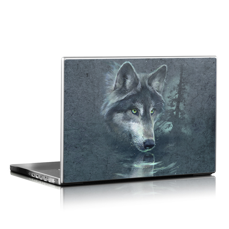 Laptop Skin design of Wolf, Canidae, Wildlife, Red wolf, Canis, canis lupus tundrarum, Snout, Saarloos wolfdog, Wolfdog, Carnivore with black, gray, blue colors