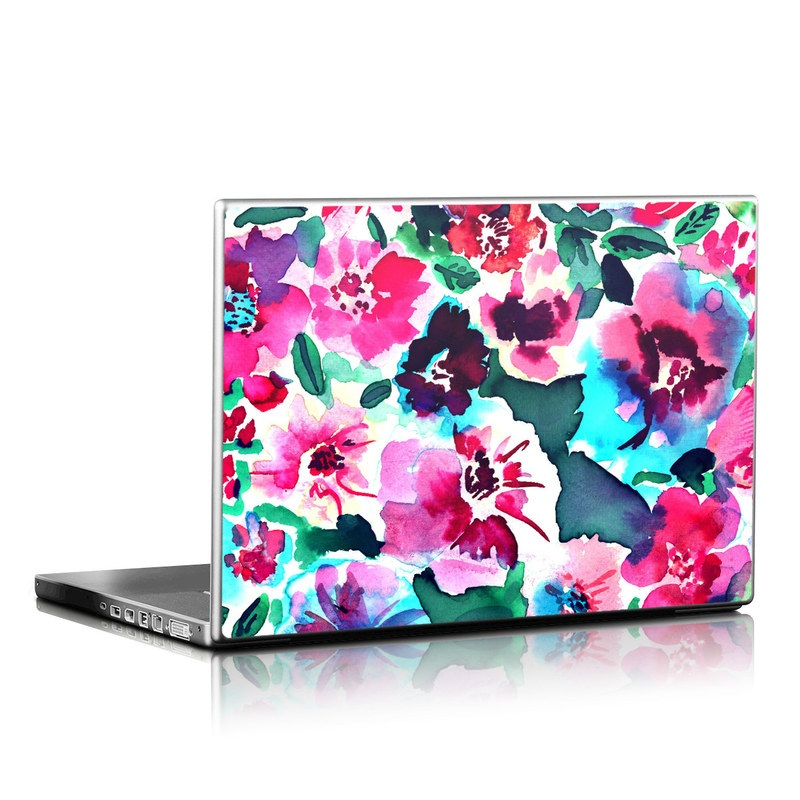 Laptop Skin design of Flower, Pink, Petal, Plant, Pattern, Hawaiian hibiscus, Design, Magenta, Flowering plant, Watercolor paint with white, pink, blue, green, red colors