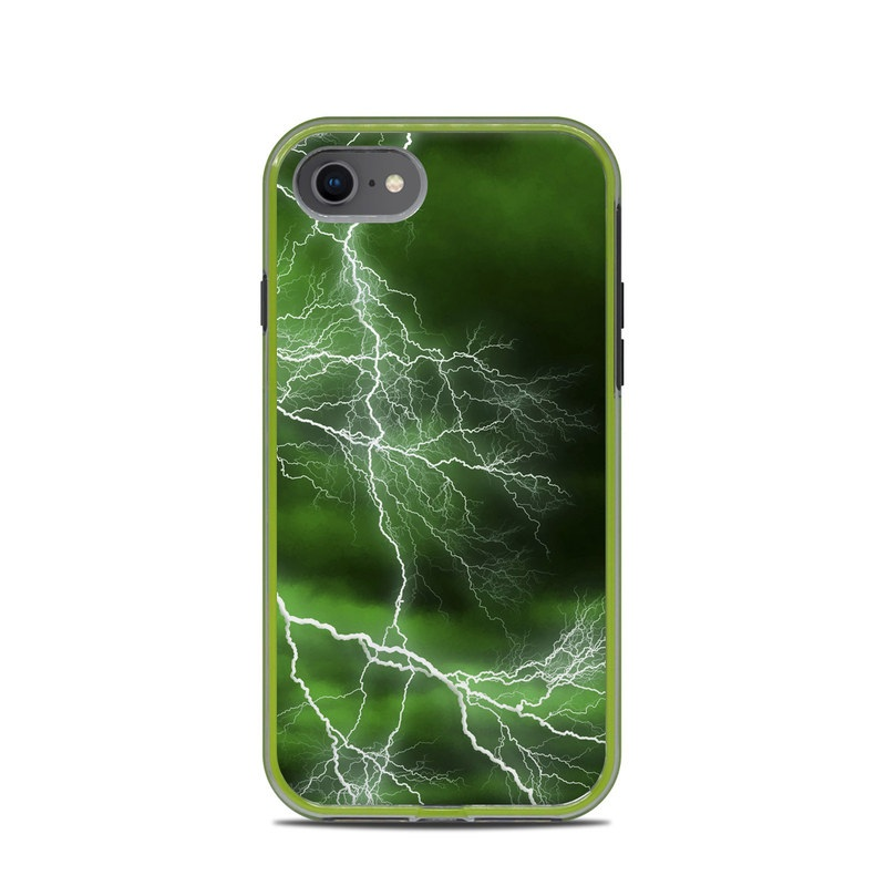 LifeProof iPhone 8 Slam Case Skin design of Thunderstorm, Thunder, Lightning, Nature, Green, Water, Sky, Atmosphere, Atmospheric phenomenon, Daytime with green, black, white colors