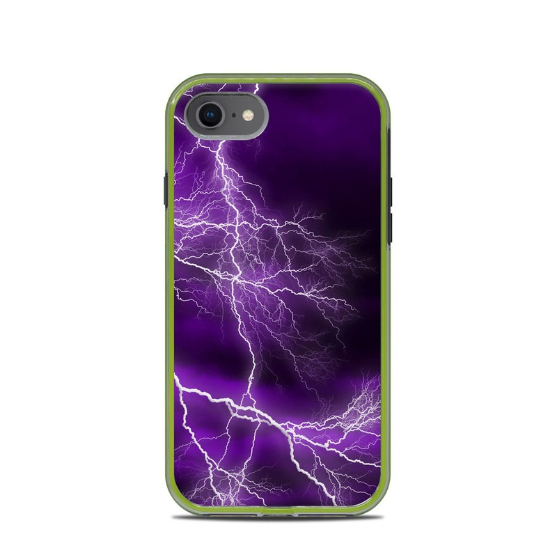 LifeProof iPhone 8 Slam Case Skin design of Thunder, Lightning, Thunderstorm, Sky, Nature, Purple, Violet, Atmosphere, Storm, Electric blue with purple, black, white colors