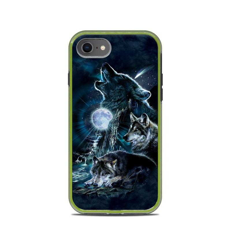 LifeProof iPhone 8 Slam Case Skin design of Darkness, Wolf, Fictional character, Cg artwork, Mythical creature, Werewolf, Mythology, Graphic design, Illustration, Space with black, gray, blue colors