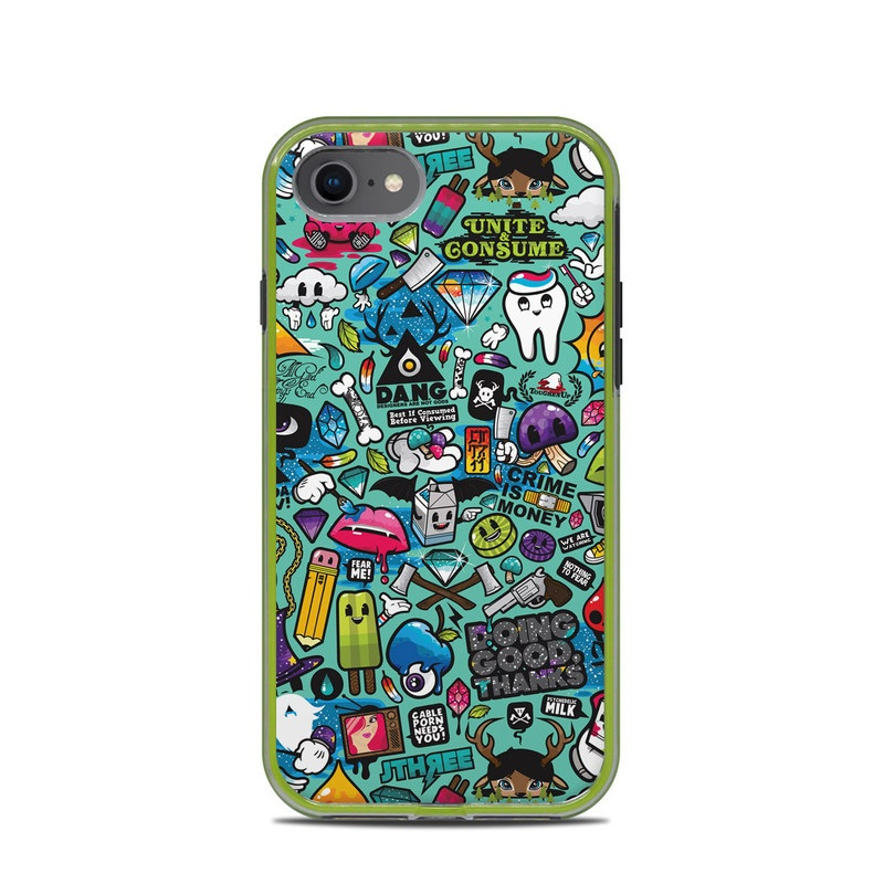 LifeProof iPhone 8 Slam Case Skin design of Cartoon, Art, Pattern, Design, Illustration, Visual arts, Doodle, Psychedelic art with black, blue, gray, red, green colors