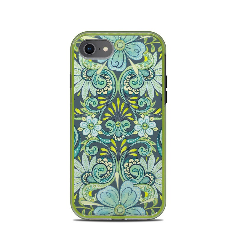 LifeProof iPhone 8 Slam Case Skin design of Pattern, Green, Aqua, Teal, Turquoise, Visual arts, Design, Motif, Textile with gray, black, blue, green colors