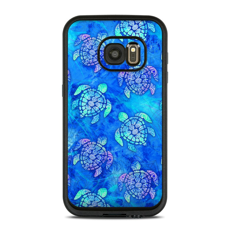 LifeProof Galaxy S7 fre Case Skin design of Blue, Pattern, Organism, Design, Sea turtle, Plant, Electric blue, Hydrangea, Flower, Symmetry with blue, green, purple colors