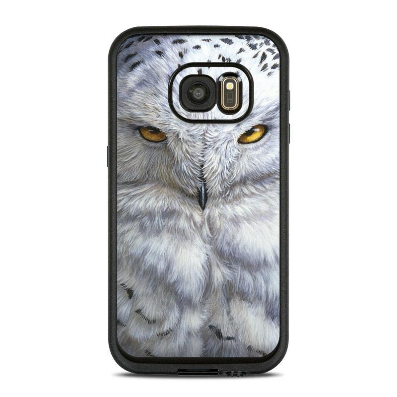LifeProof Galaxy S7 fre Case Skin design of Owl, Bird, Bird of prey, Snowy owl, great grey owl, Close-up, Eye, Snout, Wildlife, Eastern Screech owl with gray, white, black, blue, purple colors