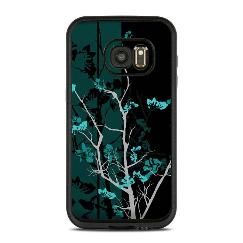 LifeProof Galaxy S7 fre Case Skin design of Branch, Black, Blue, Green, Turquoise, Teal, Tree, Plant, Graphic design, Twig with black, blue, gray colors