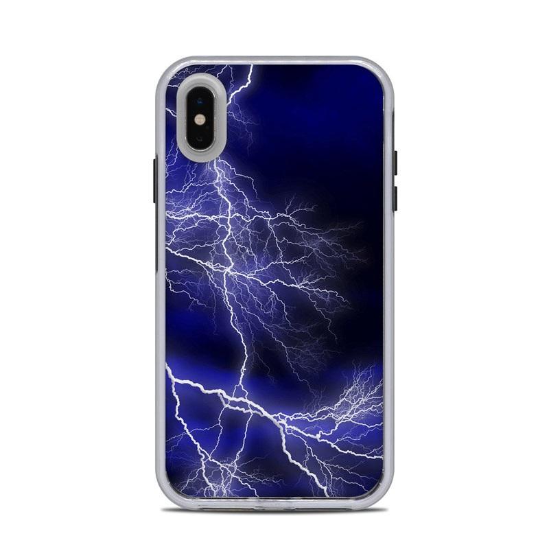 LifeProof iPhone XS Max Slam Case Skin design of Thunder, Lightning, Thunderstorm, Sky, Nature, Electric blue, Atmosphere, Daytime, Blue, Atmospheric phenomenon with blue, black, white colors