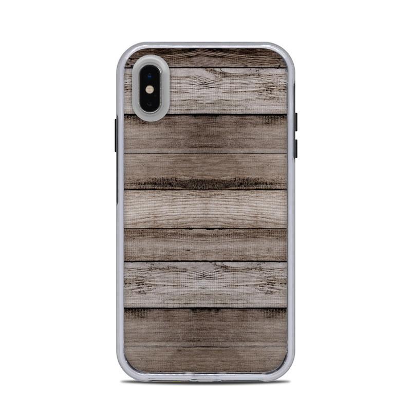 LifeProof iPhone XS Max Slam Case Skin design of Wood, Plank, Wood stain, Hardwood, Line, Pattern, Floor, Lumber, Wood flooring, Plywood with brown, black colors