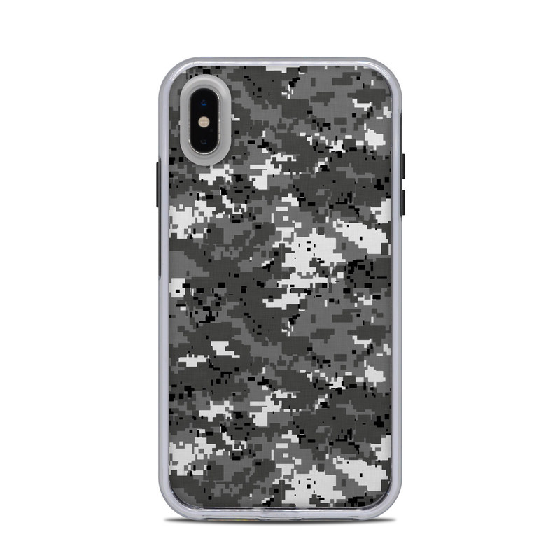LifeProof iPhone XS Max Slam Case Skin design of Military camouflage, Pattern, Camouflage, Design, Uniform, Metal, Black-and-white with black, gray colors