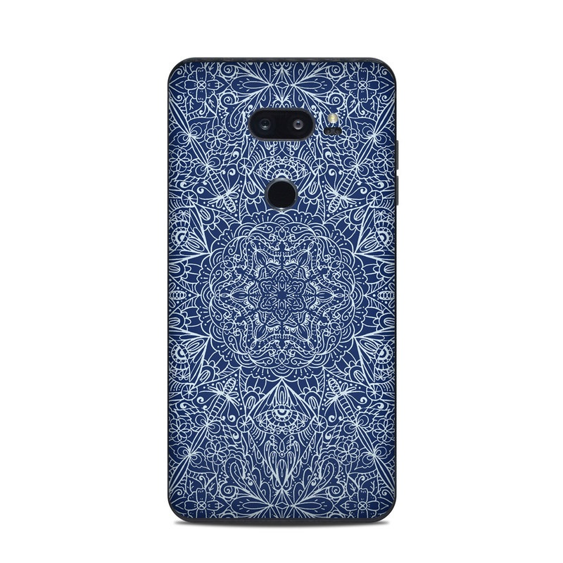 LG V35 ThinQ Skin design of Blue, Pattern, Azure, Cobalt blue, Design, Textile, Electric blue, Wallpaper, Symmetry with blue, white colors