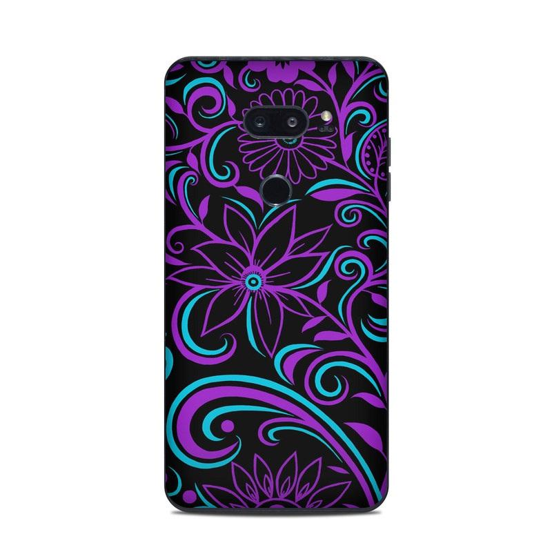 LG V35 ThinQ Skin design of Pattern, Purple, Violet, Turquoise, Teal, Design, Floral design, Visual arts, Magenta, Motif with black, purple, blue colors