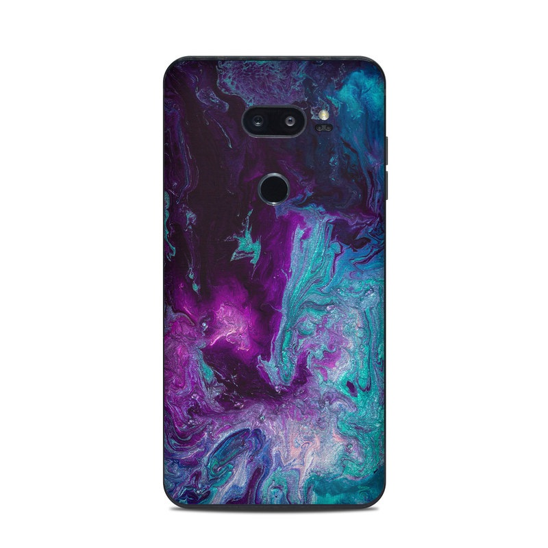 LG V35 ThinQ Skin design of Blue, Purple, Violet, Water, Turquoise, Aqua, Pink, Magenta, Teal, Electric blue with blue, purple, black colors