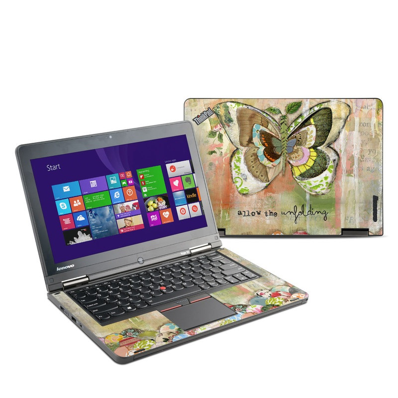 Lenovo ThinkPad Yoga 12 Skin design of Butterfly, Art, Fictional character, Pollinator, Moths and butterflies, Watercolor paint, Illustration with green, brown, yellow, blue, pink, red colors