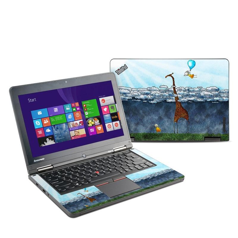Lenovo ThinkPad Yoga 12 Skin design of Giraffe, Sky, Tree, Water, Branch, Giraffidae, Illustration, Cloud, Grassland, Bird with blue, gray, yellow, green colors