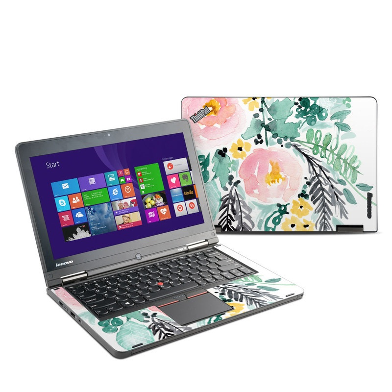 Lenovo ThinkPad Yoga 12 Skin design of Branch, Clip art, Watercolor paint, Flower, Leaf, Botany, Plant, Illustration, Design, Graphics with green, pink, red, orange, yellow colors