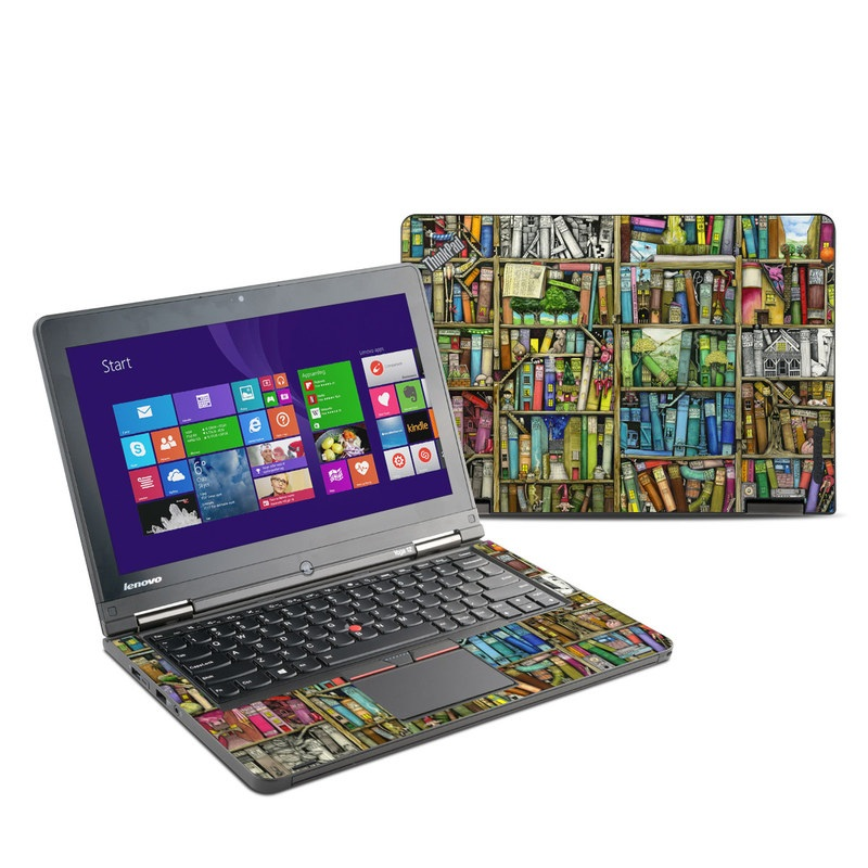 Lenovo ThinkPad Yoga 12 Skin design of Collection, Art, Visual arts, Bookselling, Shelving, Painting, Building, Shelf, Publication, Modern art with brown, green, blue, red, pink colors