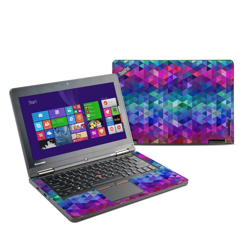 Lenovo ThinkPad Yoga 12 Skin design of Purple, Violet, Pattern, Blue, Magenta, Triangle, Line, Design, Graphic design, Symmetry with blue, purple, green, red, pink colors