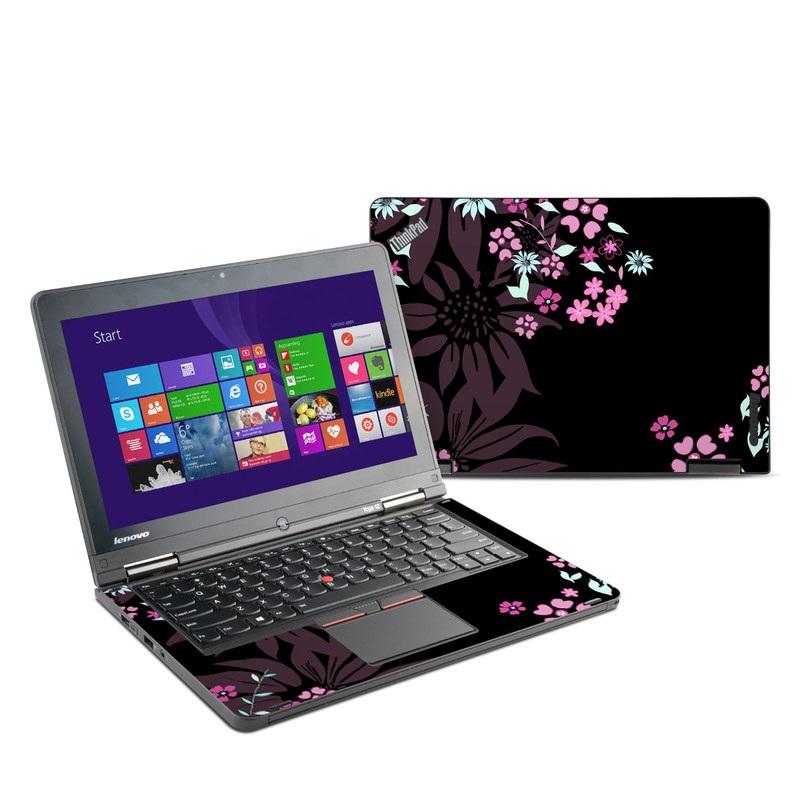 Lenovo ThinkPad Yoga 12 Skin design of Pink, Pattern, Flower, Plant, Botany, Petal, Floral design, Design, Pedicel, Graphic design with black, gray, purple, green, red, pink colors