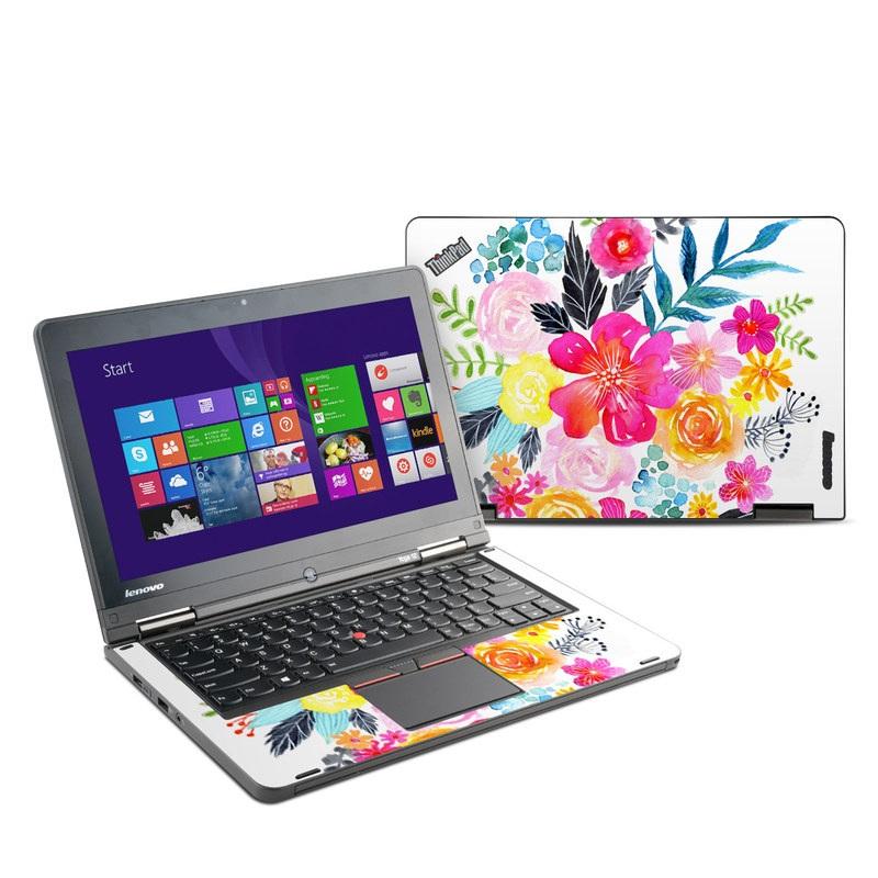 Lenovo ThinkPad Yoga 12 Skin design of Flower, Clip art, Bouquet, Plant, Illustration, Floral design, Pink, Petal, Botany, Design with white, pink, orange, red, yellow, blue, black, green colors