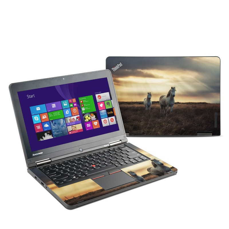 Lenovo ThinkPad Yoga 12 Skin design of Sky, Horse, Grassland, Pasture, Natural environment, Cloud, Wildlife, Atmospheric phenomenon, Mustang horse, Ecoregion with black, gray, green, pink, red colors