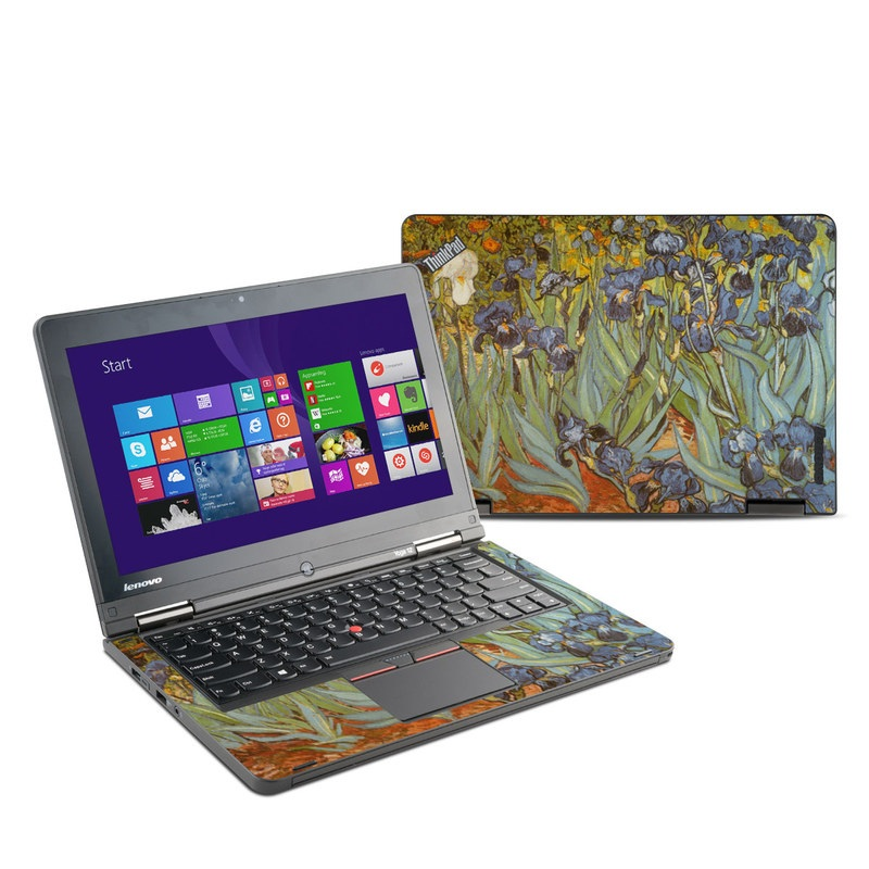 Lenovo ThinkPad Yoga 12 Skin design of Painting, Plant, Art, Flower, Iris, Modern art, Perennial plant with gray, green, black, red, blue colors