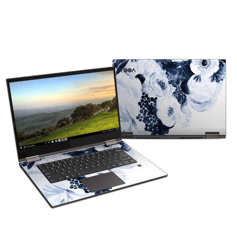 Lenovo Yoga 730 15-inch Skin design of White, Flower, Cut flowers, Garden roses, Plant, Bouquet, Rose, Black-and-white, Rose family, Still life with white, blue colors