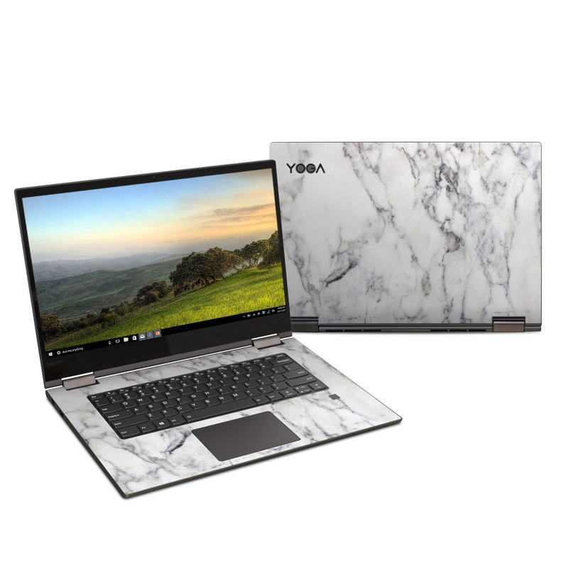 Lenovo Yoga 730 15-inch Skin design of White, Geological phenomenon, Marble, Black-and-white, Freezing with white, black, gray colors